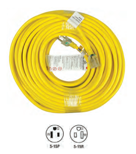 89296 Outdoor Single Tap Extension Cords 12/3 25ft