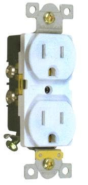 82196 Industrial Grade Duplex Receptacle White 15A-125V