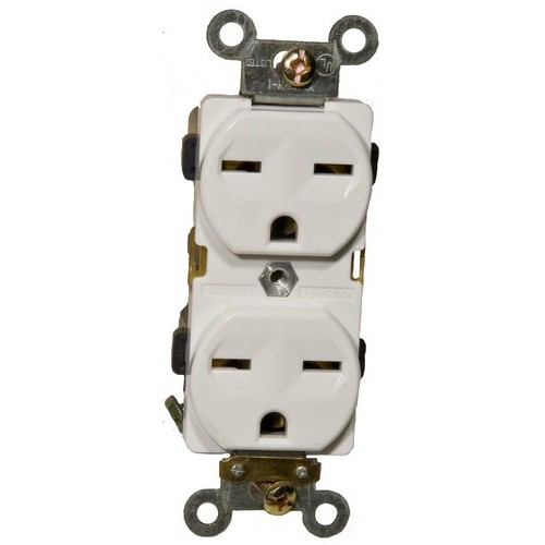 82201 Industrial Grade Duplex Receptacle White 15A-250V