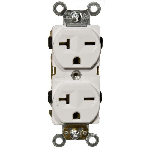 82206 Industrial Grade Duplex Receptacle White 20A-250V