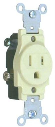 82135 Commerical Grade Single Receptacle Ivory 15A-125V