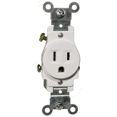 82136 Commerical Grade Single Receptacle White 15A-125V