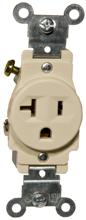 82155 Commerical Grade Single Receptacle Ivory 20A-125V