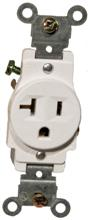 82156 Commerical Grade Single Receptacle White 20A-125V
