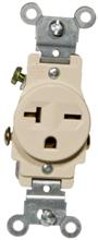 82245 Commerical Grade Single Receptacle Ivory 20A-250V