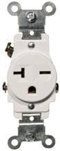82246 Commerical Grade Single Receptacle White 20A-250V