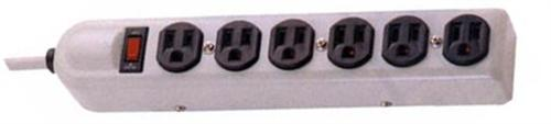 89060 6 Outlet Metal Surge Strip with 2 Transformer Outlets