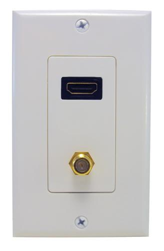 80448 Combination HDMI Plate & F Connector Home Enterainment WallPlate