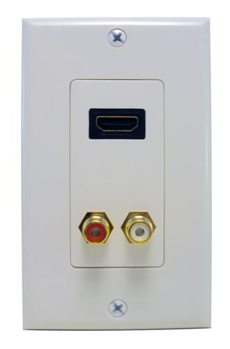 80450 Combination HDMI Plate & Dual RCA Connector (R&W) Home Enterainment WallPlate