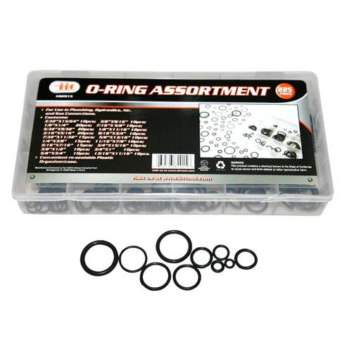 82915 Rubber O-Ring Grommet Assortment 225-Piece Kit Plumbing Air Gas