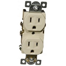82140 Commercial Duplex Receptacle 15A 125V Ivory