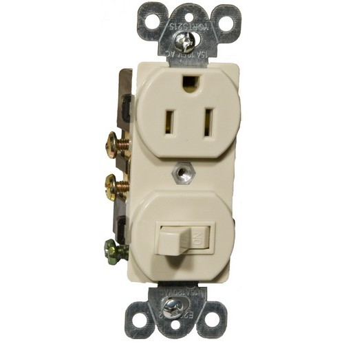 82175 Combination Single Pole Switch and Receptacle Ivory 15A-120V