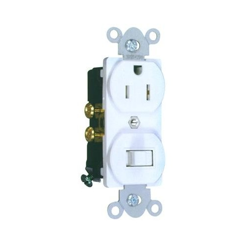 82176 Combination Single Pole Switch and Receptacle White 15A-120V